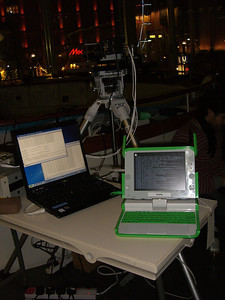 The usual laptops by an OLPC which is being configured to run QKD software
